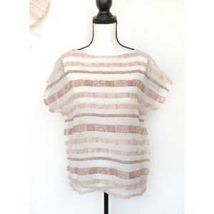 Escada Rose Gold Striped Blouse Short Sleeve